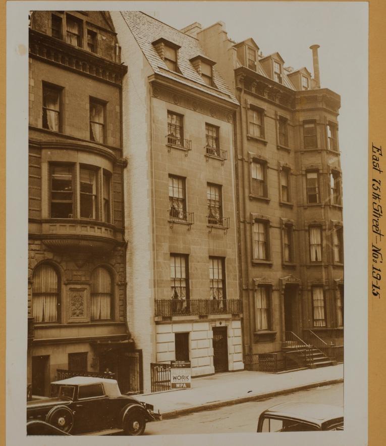 Дома 11-15 по 75-й улице на Манхэттене в 1937 году