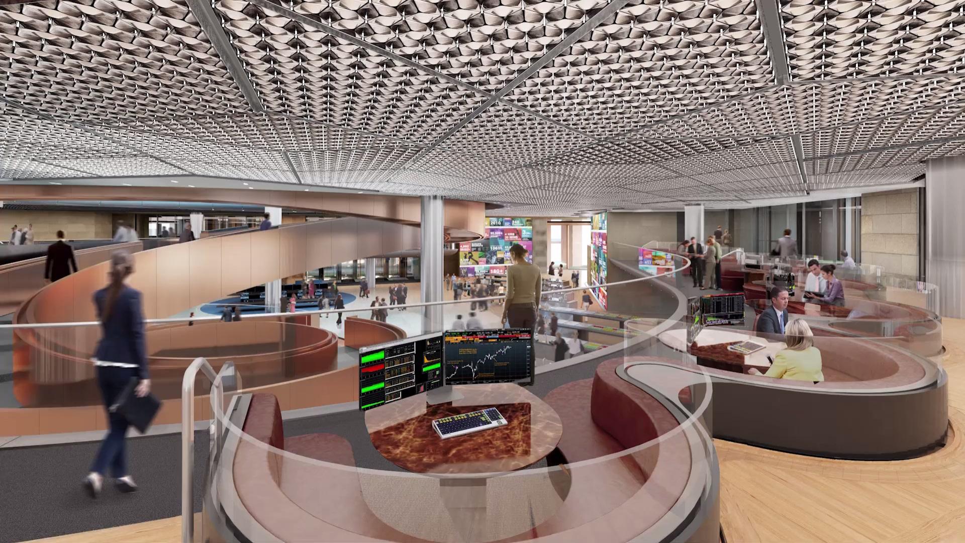 В основе концепций офиса, по словам основателя Bloomberg Майкла Р. Блумберга, лежат принципы открытости и кооперации, нашедшие выражение в огромных открытых безбарьерных пространствах