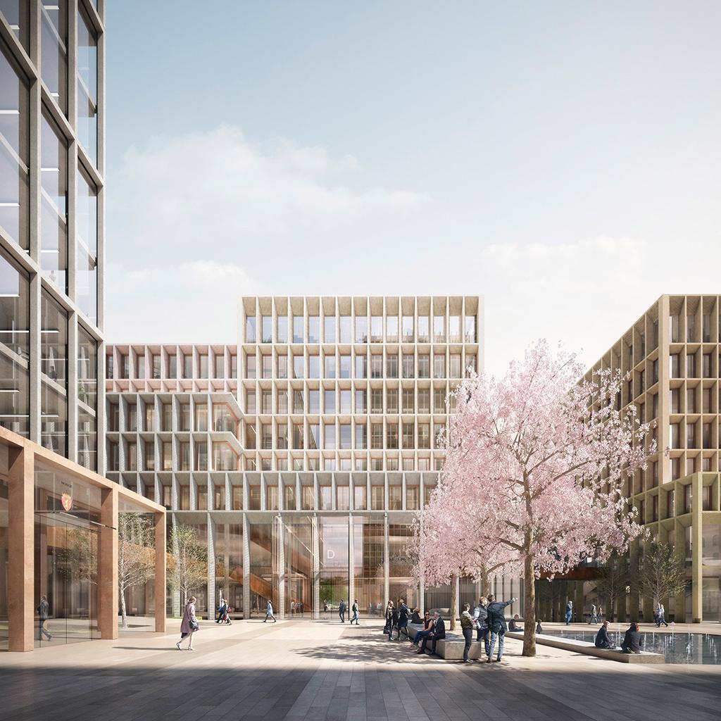 Малоэтажные офисные здания, окружающие одну из площадей в правительственном квартале