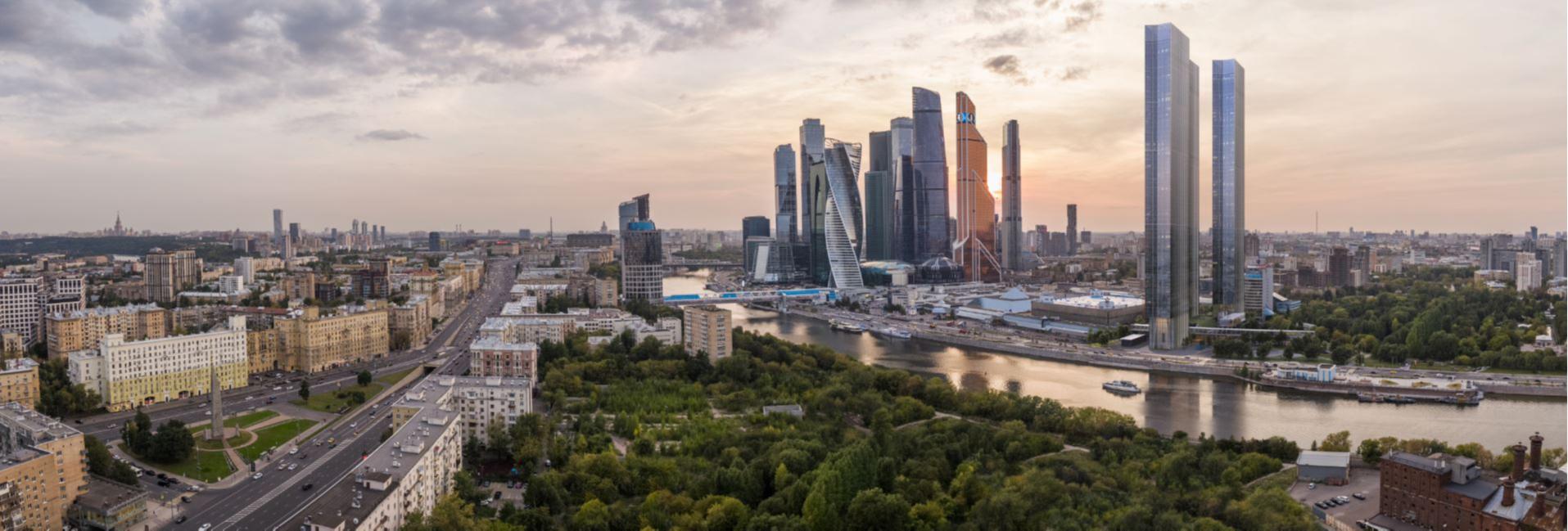 Перспективный вид на «Москва-Сити» и Capital Towers. Визуализация Capital Group