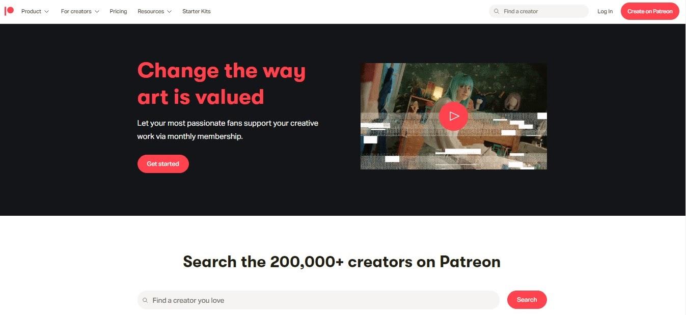 Главная страница Patreon