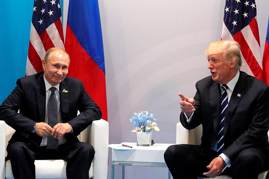 Владимир Путин и Дональд Трамп на саммите G20 в Гамбурге. 7 июля 2017 года