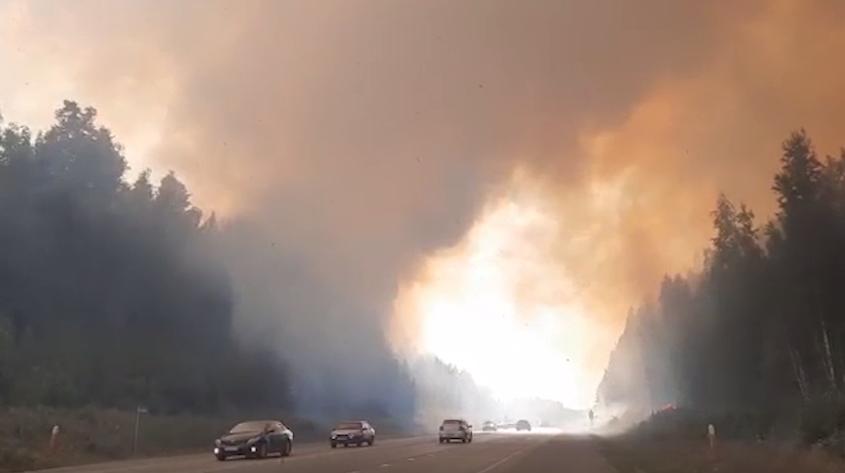 Трасса Пермь – Екатеринбург частично перекрыта из-за лесного пожара
