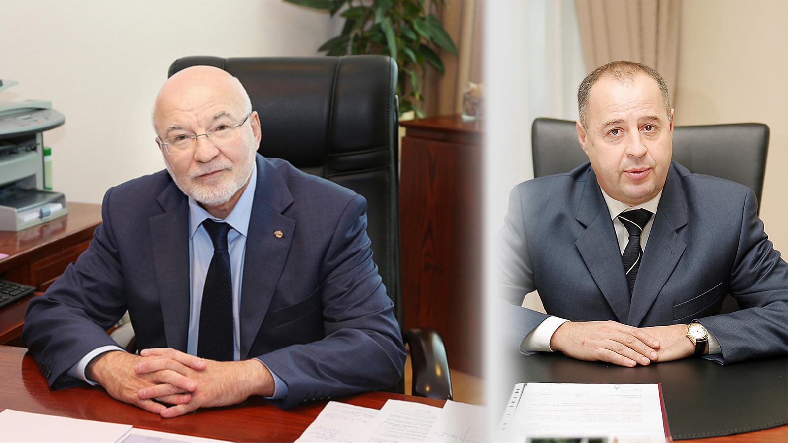 Слева— Виктор Олюнин, 23 года занимал пост директора по персоналу в «Уралэлектромеди» и УГМК. Справа— Григорий Рудой, пришел в УГМК в 2000 году.