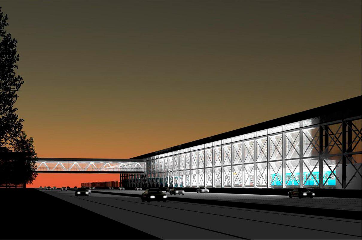 «Прокшино» — наземная станция метро. Вестибюль будет выполнен в серых тонах с оранжевыми вставками. Пропускная способность станции составит 100 тыс. человек в сутки