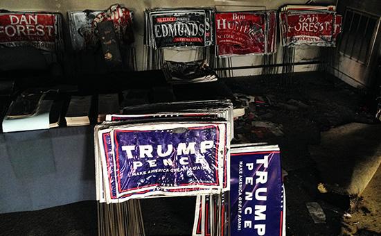 Штаб-квартира Республиканской партии в Северной Каролине после поджога
