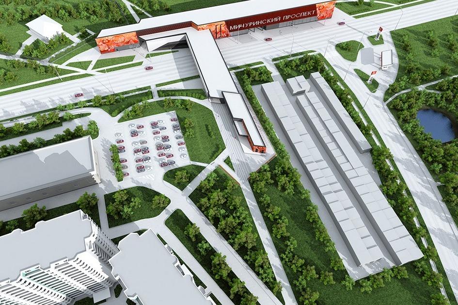 Проект станции метро «Мичуринский проспект». Вид сверху
