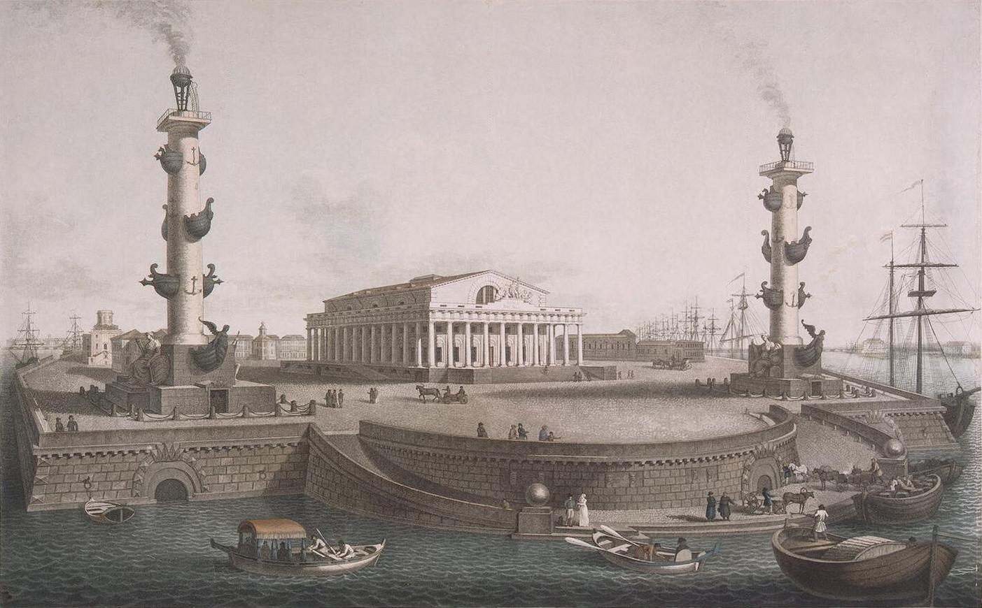 Вид биржи со стороны Большой Невы (1810-е гг.)
