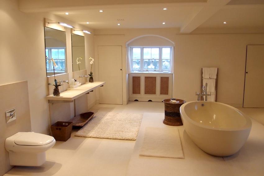 Белая ванная комната, совмещенная с белой спальней (на фото выше)