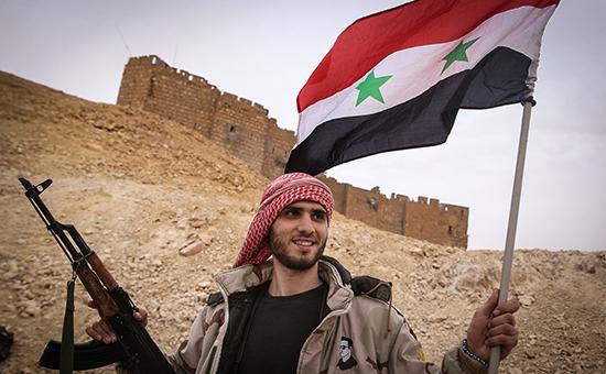Боец сирийской армии у подножия замка Фахр ад-Дина в Пальмире