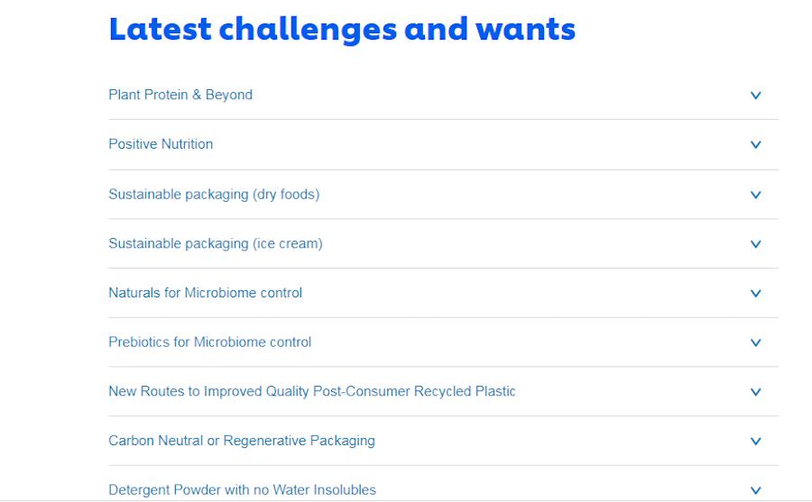 Список заданий Unilever, отданных на краудсорсинг