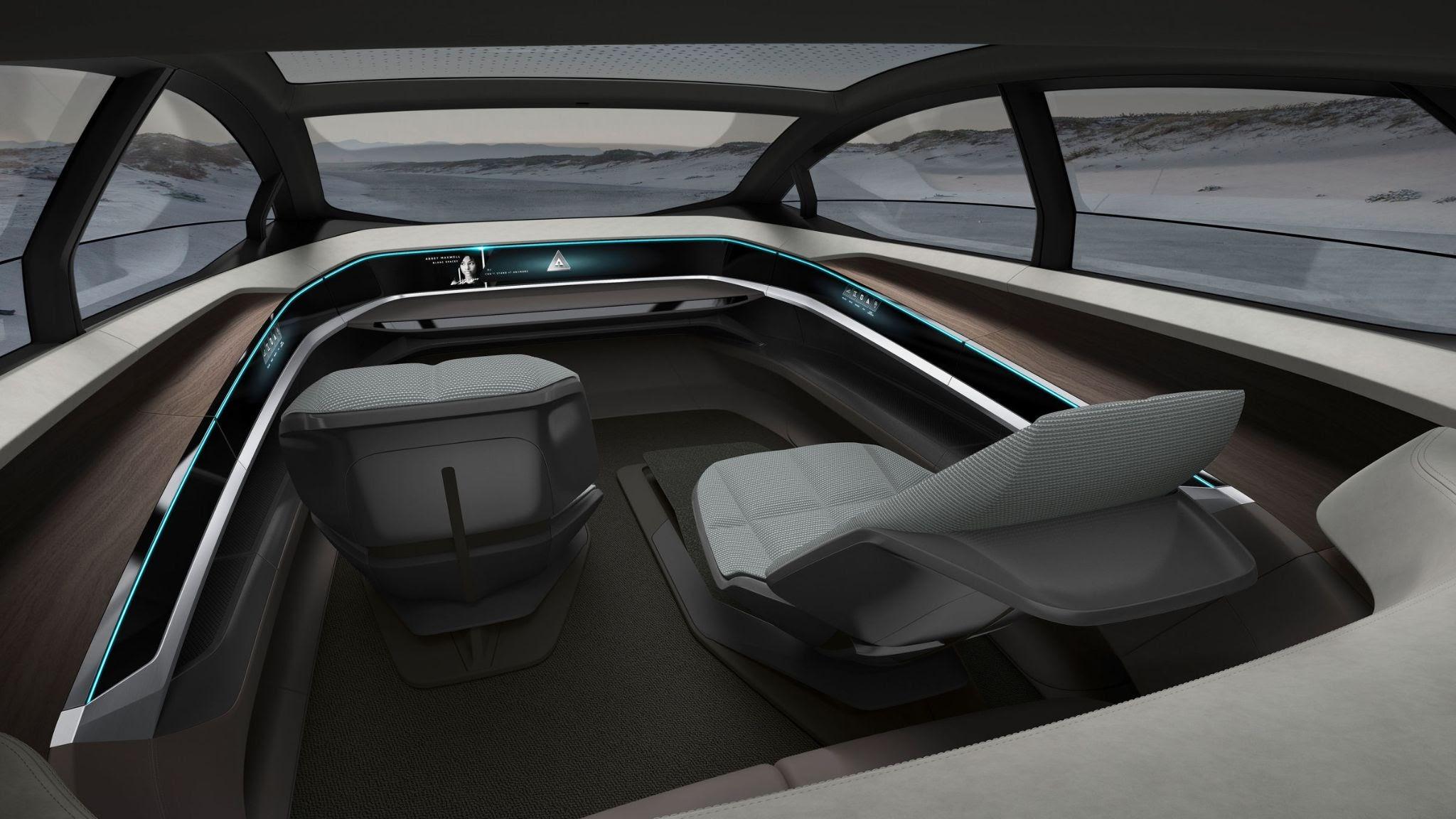 Салон Audi Aicon. Кресла можно расправить и лечь, а еще они поворачиваются на 360 градусов