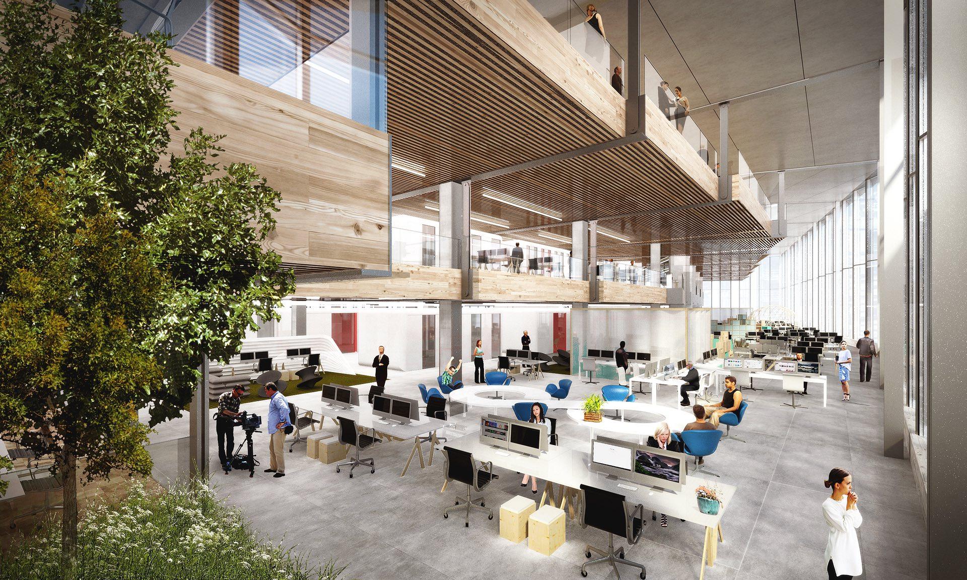Внутри здания, помимоофисных помещений, запланированы кинозал, спортзал, 25-метровый бассейн, площадки дляспортивныхигр, массажный кабинет идругие зоны отдыха