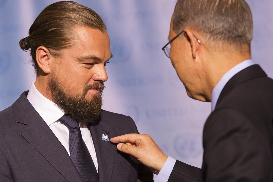 Бывший тогда генеральным секретарем ООН Пан Ги Мун назначает Леонардо Ди Каприо посланником организации, 2014 год