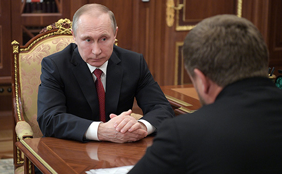 Владимир Путин и Рамзан Кадыров. Кремль, 19 апреля 2017 года
