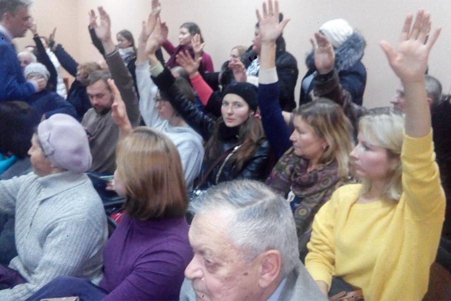 Участники слушаний голосуют против строительства мусоросжигательного завода