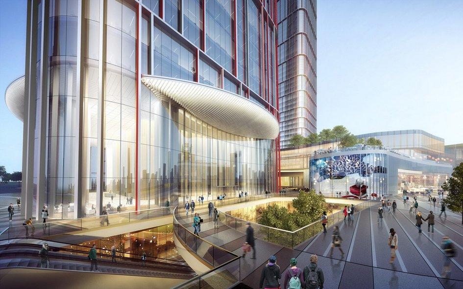 Благодаря компактному расположению зданий внутриквартала девелопер рассчитывает создать особую среду, вкоторой все бытовые услуги будут находиться впешей доступности отцентрального небоскреба