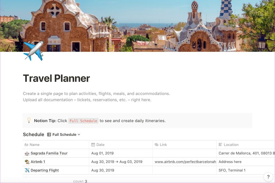 Так выглядит шаблон для планирования путешествий