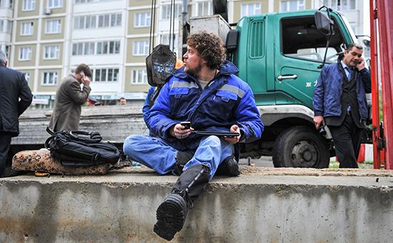 Сергей Полонский настроительной площадке многофункционального комплекса «Кутузовская миля». 2011 год