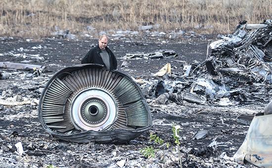 Место падения пассажирского самолета Boeing 777 Malaysia Airlines