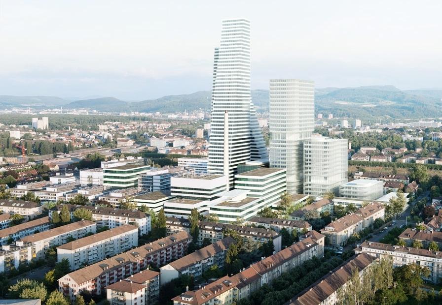 Базель, Швейцария  Высота главного небоскреба Roche, новой архитектурной доминанты Базеля, составит 205м. Этот корпус планируется построить к2021 году: 50-этажное здание рассчитано на1,7тыс. сотрудников. На данный момент готов толькопервый корпус, которыйвозвышается надодноэтажными частными домами итиповыми швейцарскими пятиэтажками