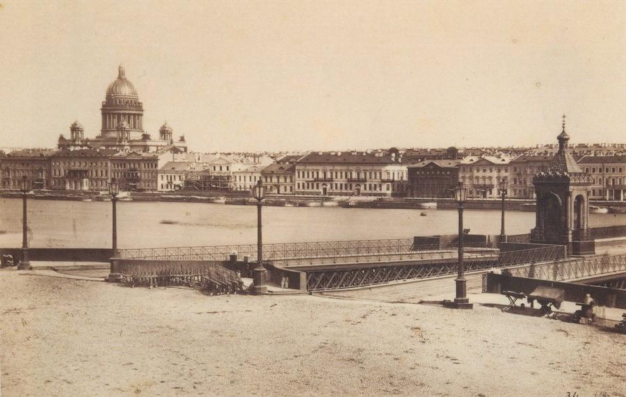 Въезд на Николаевский мост с Васильевского острова, 1860-е годы