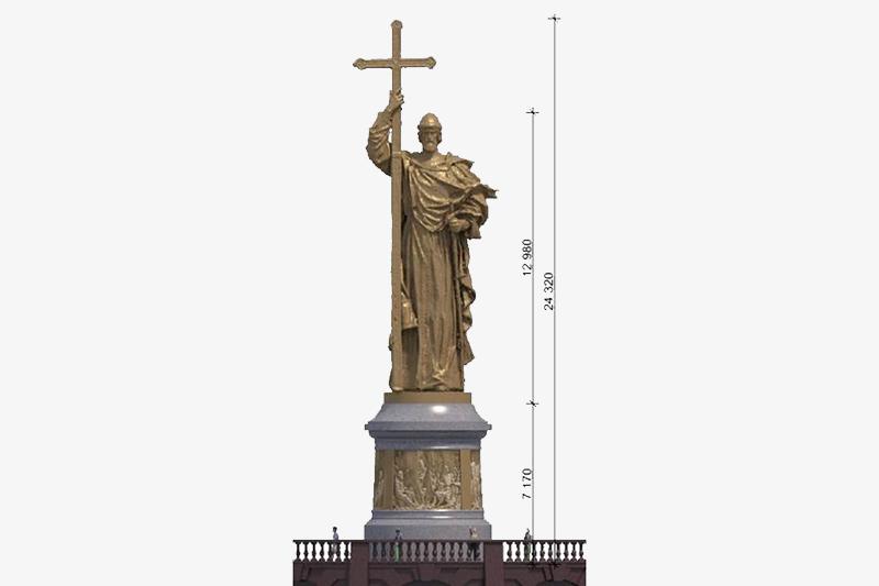 Проект памятника князю Владимиру на смотровой площадке на Воробьевых горах в Москве