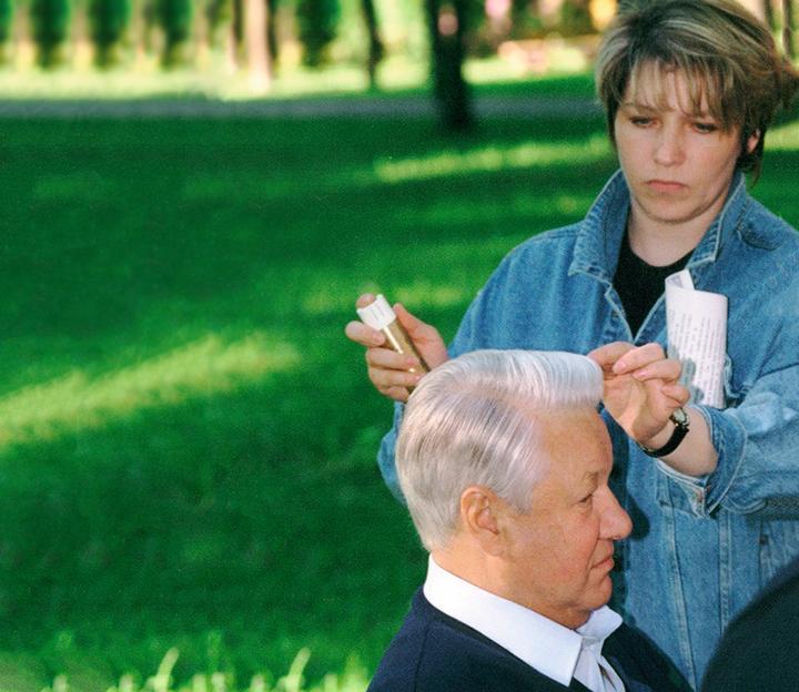 Татьяна Юмашева сБорисом Ельциным вовремя съемок фильма «Мужской разговор»