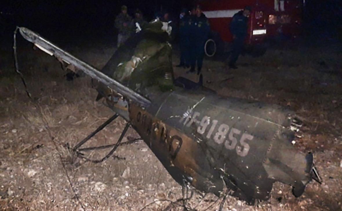 Место крушения российского вертолёта Ми-24