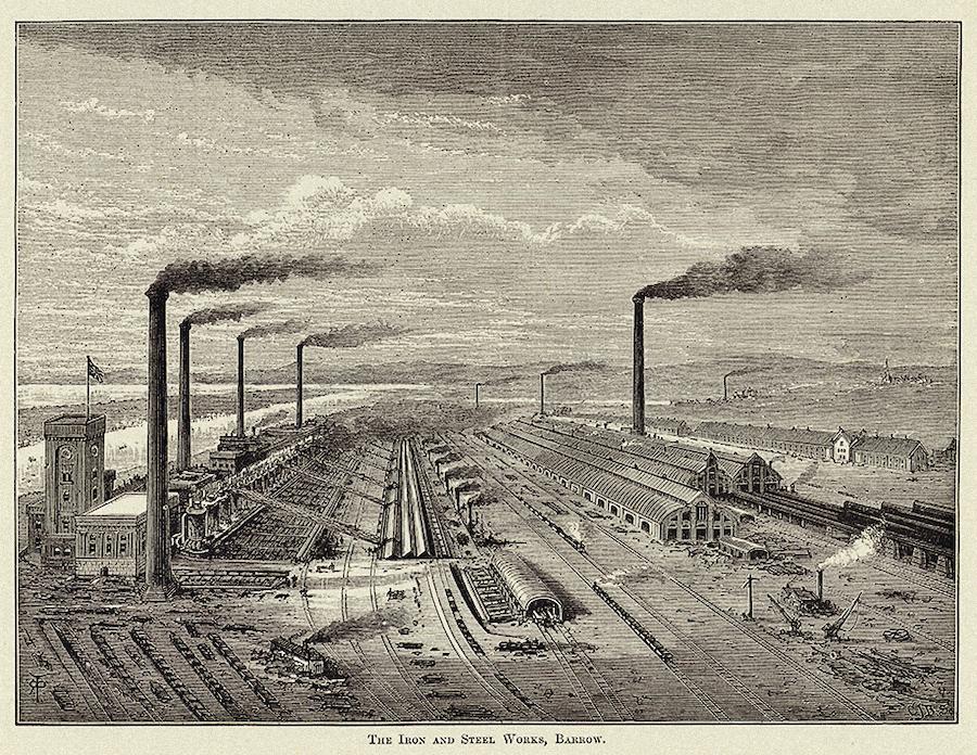 Металлургический завод в Барроу. Гравюра, XIXвек