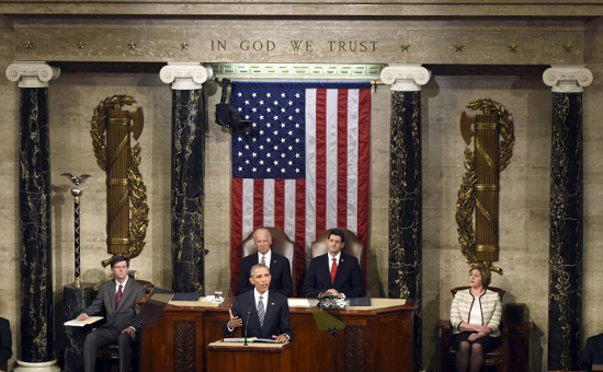 Барак Обамавыступает в конгрессе