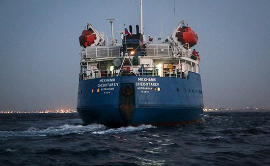Российский танкер «Механик Чеботарев», захваченный впорту Триполи