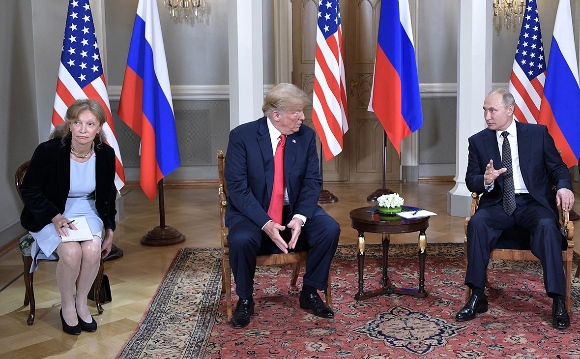 Марина Гросс,Дональд Трамп и Владимир Путин во время переговоровв Хельсинки. 16 июля 2018 года