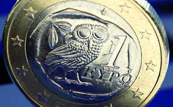 Греческая монета в 1 евро.