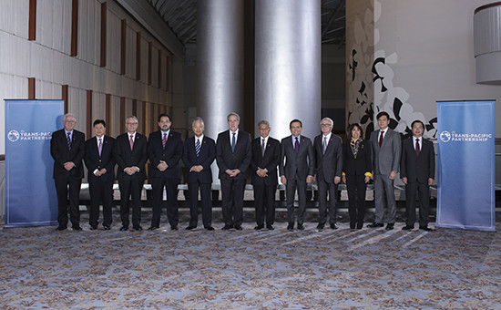Министры торговли стран Тихоокеанского региона, участников договора о Транстихоокеанском партнерстве (Trans-Pacific Partnership)в Атланте, октябрь 2015 г.