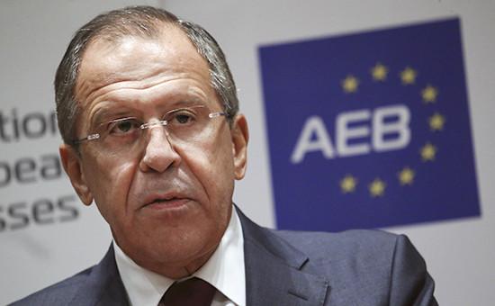Министр иностранных дел России Сергей Лавров во время встречи с руководителями компаний-участниц Ассоциации европейского бизнеса (АЕБ)