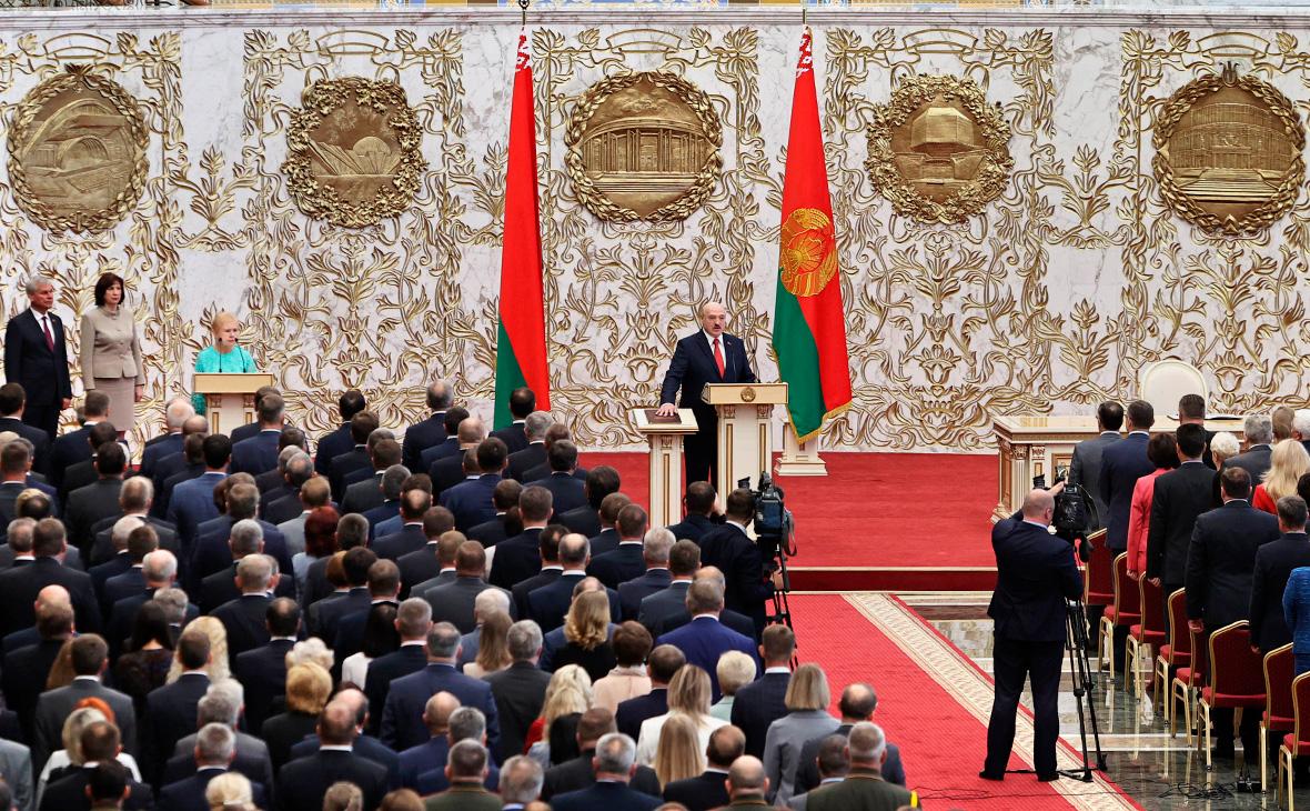 Александр Лукашенко на церемонии инаугурации в Минске, Белоруссия