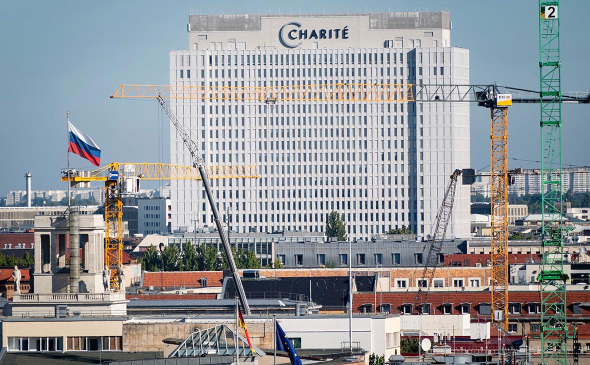 Вид на клинику «Шарите» в Берлине, где находится Алексей Навальный