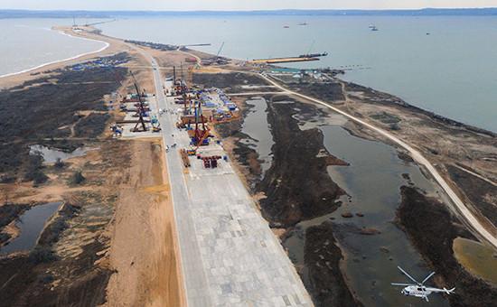 Строительство транспортного перехода через Керченский пролив, март 2016 года