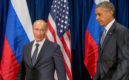 Президент России Владимир Путин спрезидентом США Бараком Обамой, 28 сентября 2015 года