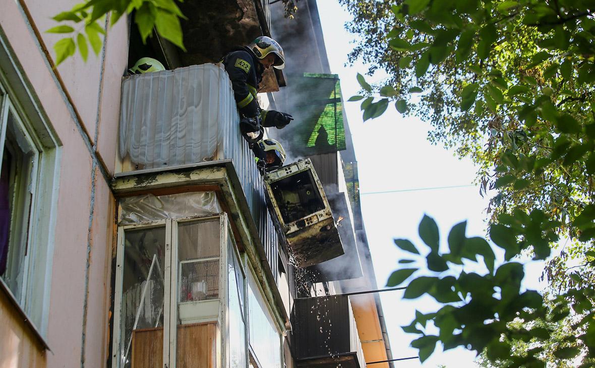 Пожарно-спасательные подразделения на месте возгорания