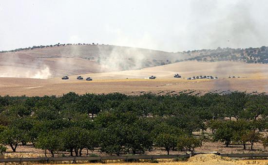 Продвижение Турецких танков к границе с Сирией утром 24 августа 2016 года