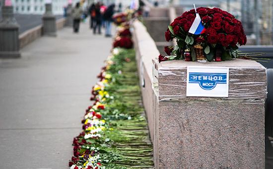 Место убийства Бориса Немцова наМоскворецком мосту. Архивное фото