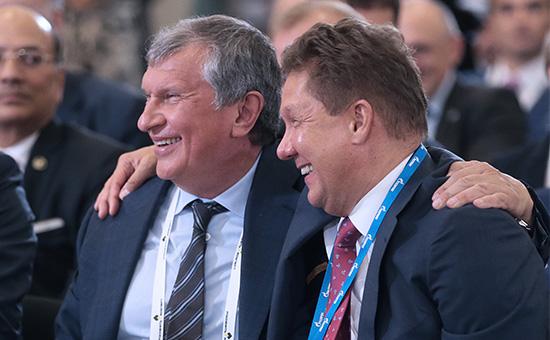 Глава ОАО «НК «Роснефть»Игорь Сечин и председатель правления компании «Газпром» Алексей Миллер (слева направо)