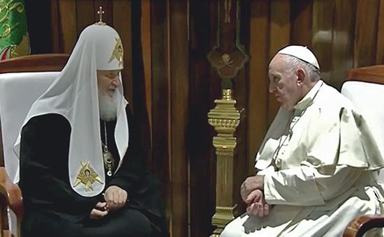 Патриарх Кирилл (слева) и папа римский