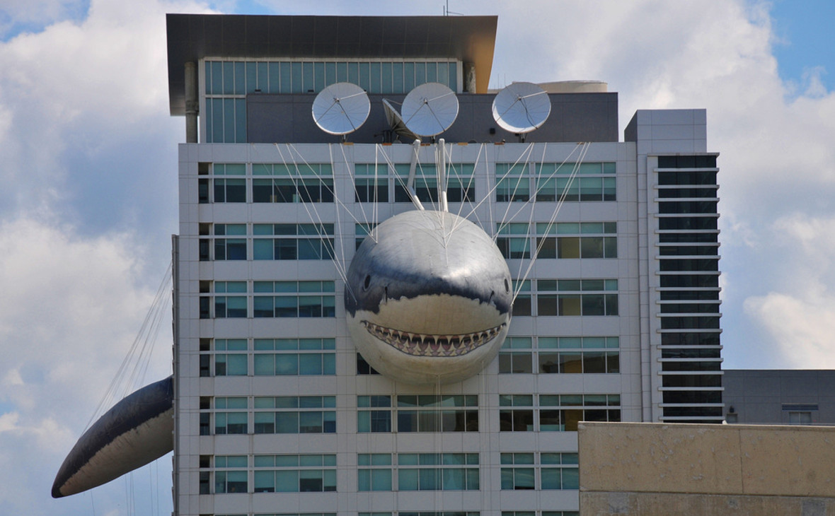 Надувнаяакула на здании штаб-квартиры Discovery Channel