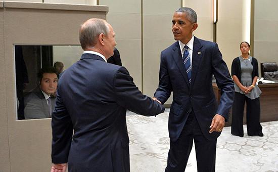 Президент России Владимир Путин и президент США Барак Обама на саммите G20 в Китае, 5 сентября 2016 года
