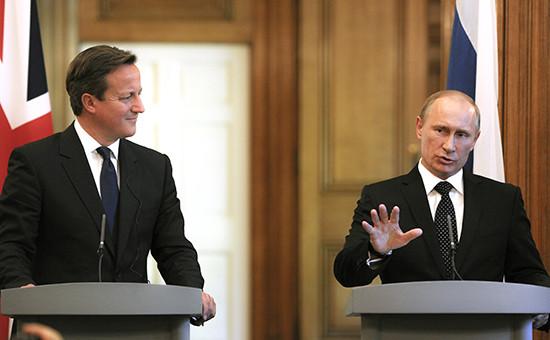 Премьер-министр Великобритании Дэвид Кэмерон и президент РоссииВладимир Путин (слева направо). Архивное фото