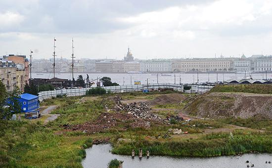 Вид наместо стройки Верховного суда вПетербурге