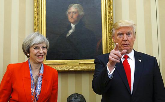ПремьерВеликобритании ТерезаМэй и президент США Дональд Трамп